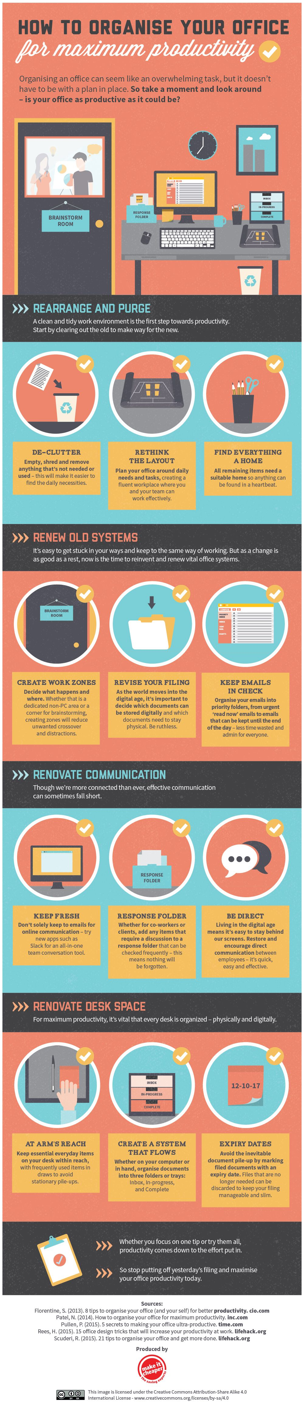 How to Organise Your Office for Maximum Productivity #infographic