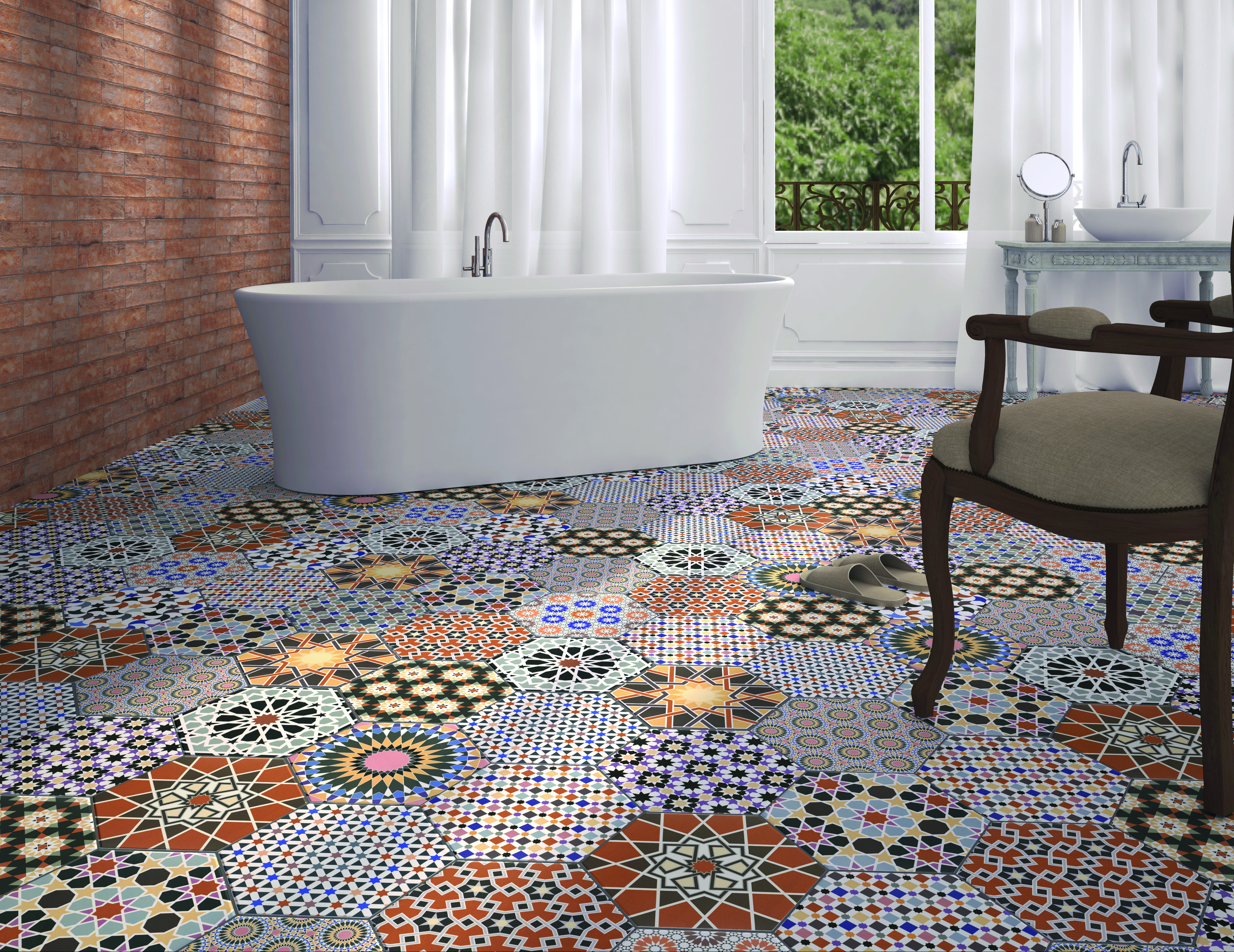 Pattern hexagons surprise in the andalusi tile series from tile of andalucia patterned porcelain wall and floor tile andalucia from tile mountain dailygadgetfo Images