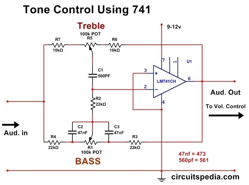 Bass Treble Tone Control Circuit Using Opamp Audio Tone Control Circuit Circuit Audio Amplifier Electronic Circuit Projects