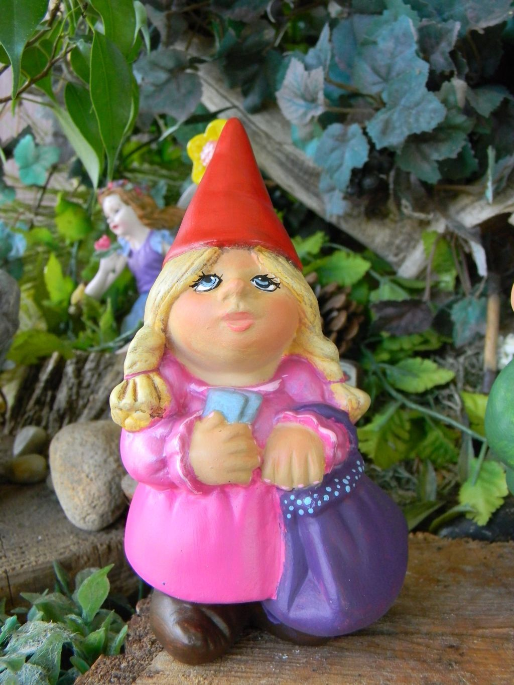 Garden Gnome Lady Female woman traveling Pocket Sized Never Roam