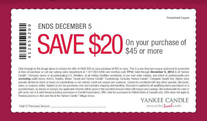 Pinned December 2nd: $20 off $45 at Yankee #Candle, or online via promo code TY14 #coupon via The #Coupons App