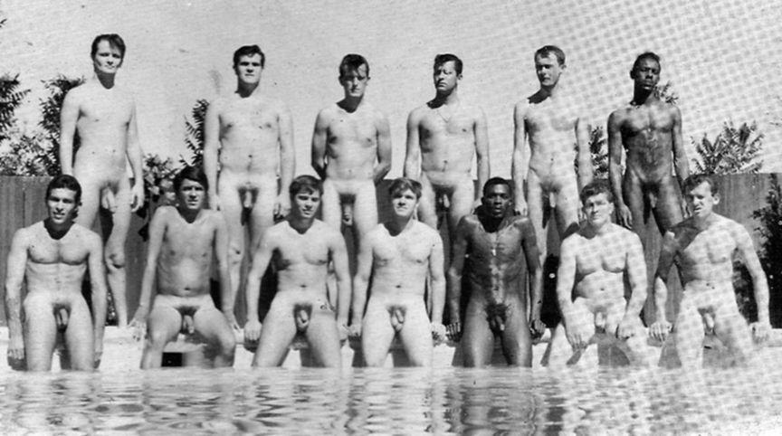naked men group swim