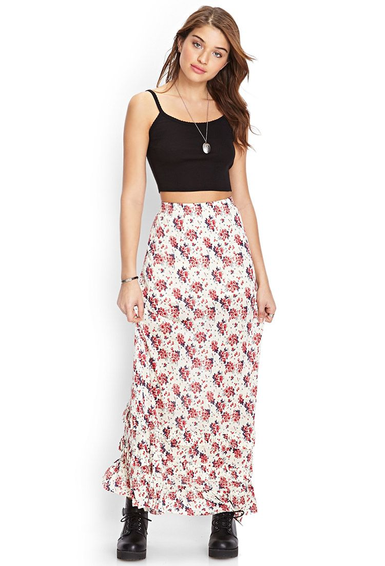 29f009366e9 Tiered Floral Maxi Skirt