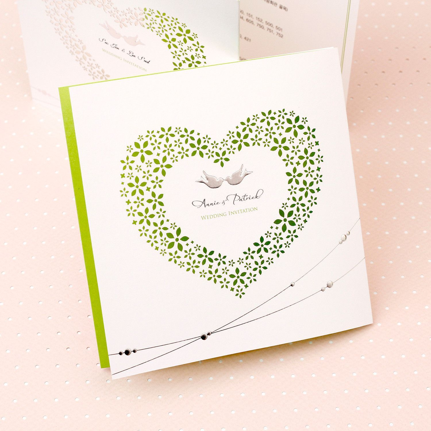Laser cut heart wedding invitations Love bird foil wedding ...