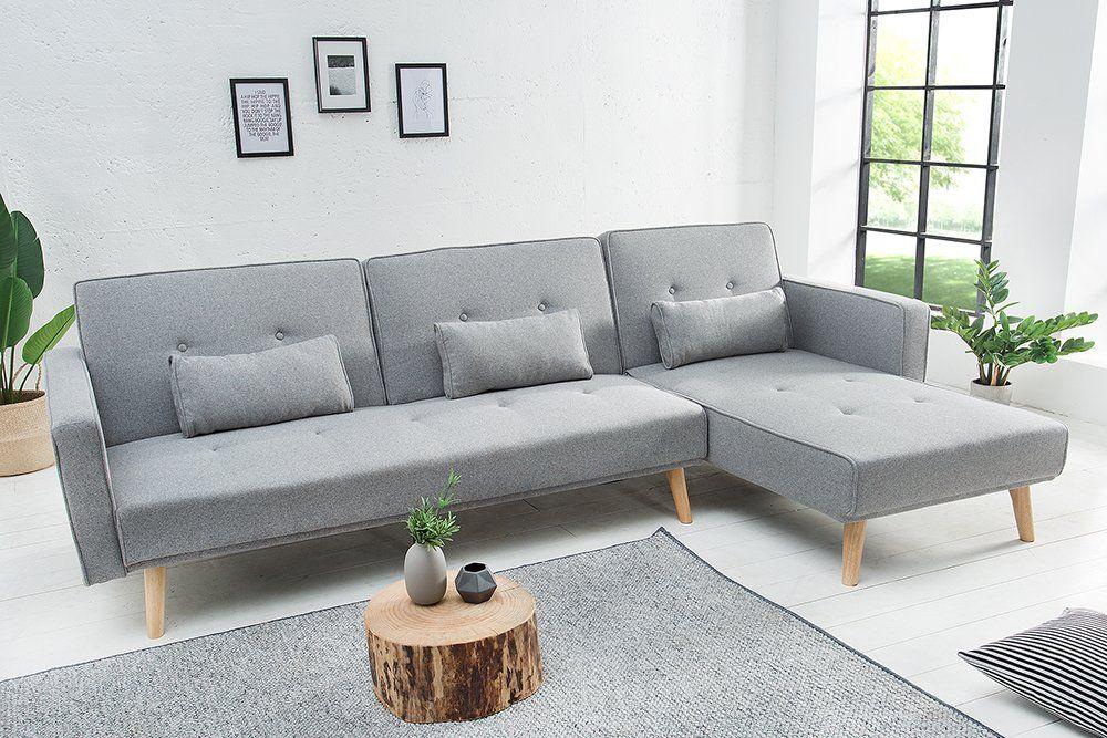 Riess Ambiente Modernes Ecksofa Nordic 265cm Hellgrau Sofa Anthrazit Schlafsofa Couch Eckcouch Verstellbare Ruckenl Design Schlafsofa Haus Deko Ecksofas