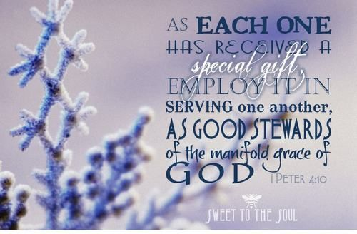 1 peter 410 serve one another according to the gifts god has 1 peter serve one another according to the gifts god has given each of us through his spirit at salvation negle Images