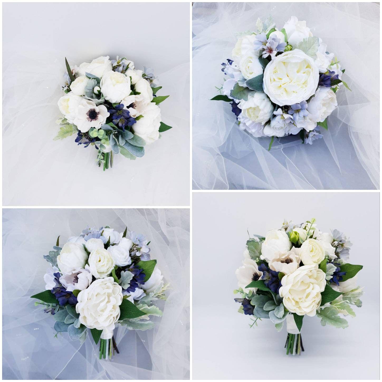 Melissa Artificial Navy Blue Wedding Flower Bridal Bouquet Etsy Wedding Flowers Bridal Bouquets Artificial Flowers Wedding Artificial Wedding Bouquets