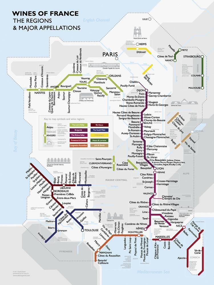 Metro Wine Map Of France From De Long Wine Cheese French