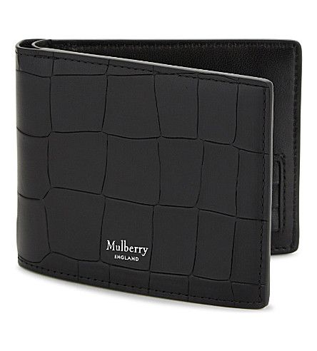 Mulberry Crocodile Embossed Leather Billfold Wallet In Black Modesens Leather Billfold Billfold Wallet Embossed Leather