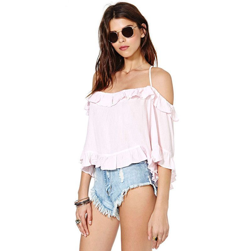 HDY Haoduoyi Fashion Solid Color Shirts Women Butterfly Sleeve Slash Neck Cold Shoulder Tops Women Ruffles Backless Blouses