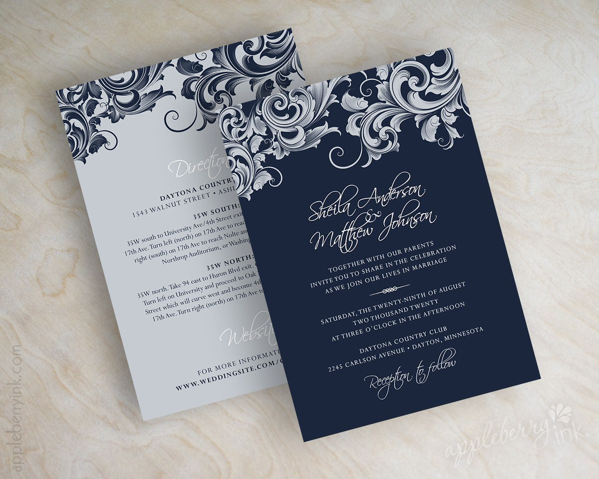 Dark Blue Wedding Invitations: Jora Navy Silver Wedding Invitations