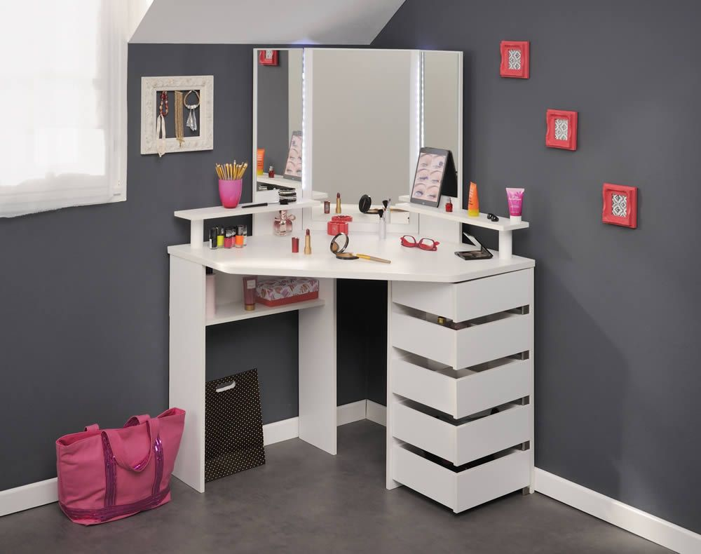 The Kids Avenue Beauty Bar Corner Dressing Table By Parisot In A White Finish Features Three Panel Mirror With Led Lighting Shelves And Five