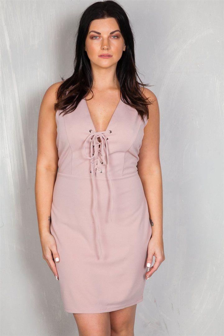 Ladies Fashion Plus Size V Neckline Front Lace Up Mini Dress Plus