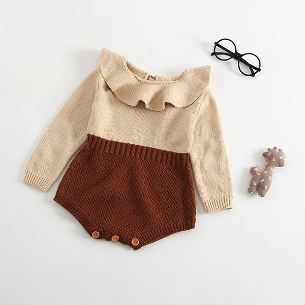 Photo of Soft Knitted Baby Girls Long Sleeve Romper Jumpsuit For 0-36M
