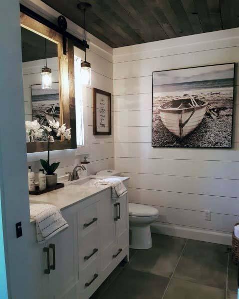Top 50 Best Shiplap Bathroom Ideas - Nautical Inspired Wall Interiors