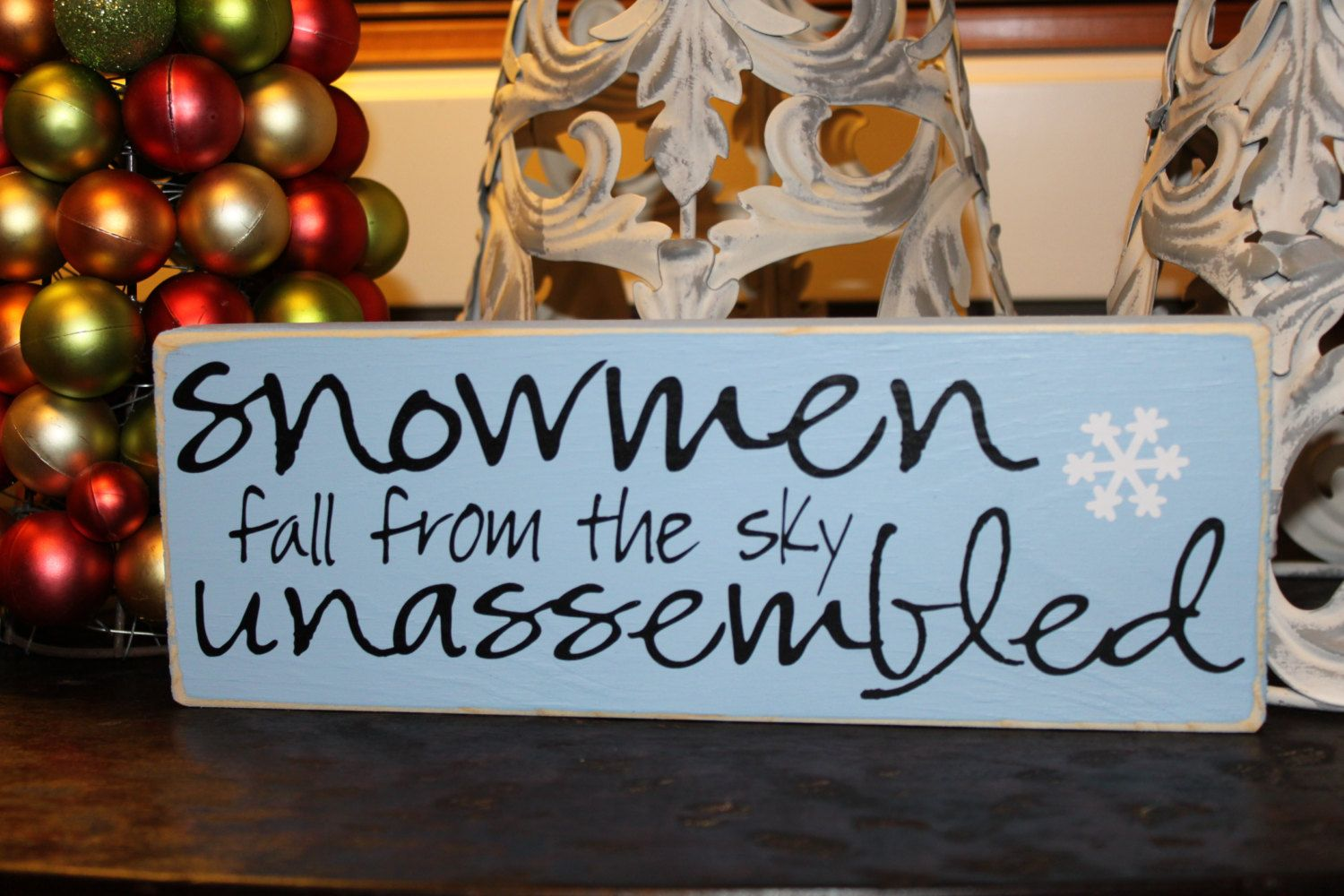 Snowmen fall from the sky unassembled - Sign - Winter - Christmas Decor - Holidays by SignsbyJen on Etsy