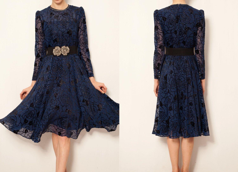 1970's Japanese vintage french lace navy blue rose printed dress, long sleeve dress, sundress, spring summer dress, autumn winter dress, by VintageCosmopolitan on Etsy