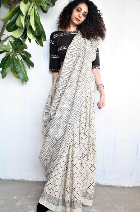 Buy Handwoven Block Printed Cotton, Silk & Linen Sarees | Chidiyaa