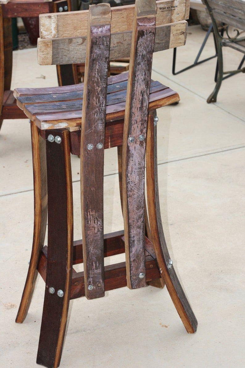 High Back Barhocker Bis Cycled Rot Wein Fasser Holz In 2020