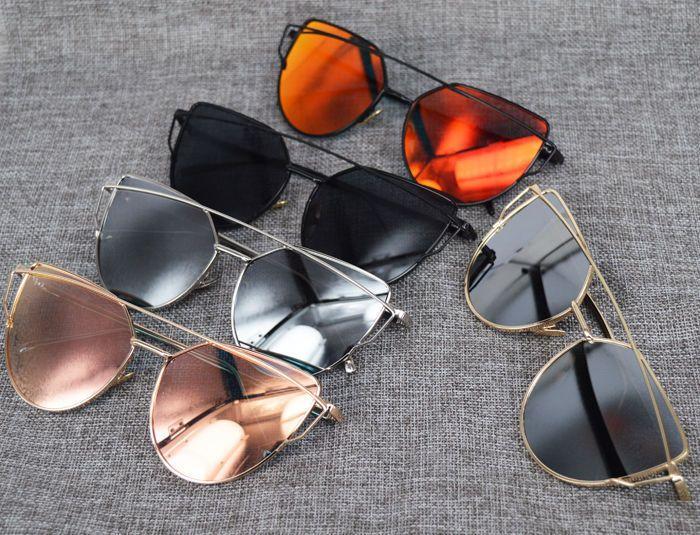 aa1bcca0ffd14 Womens Flat Lens Mirror Metal Frame Oversized Cat Eye Sunglasses ...