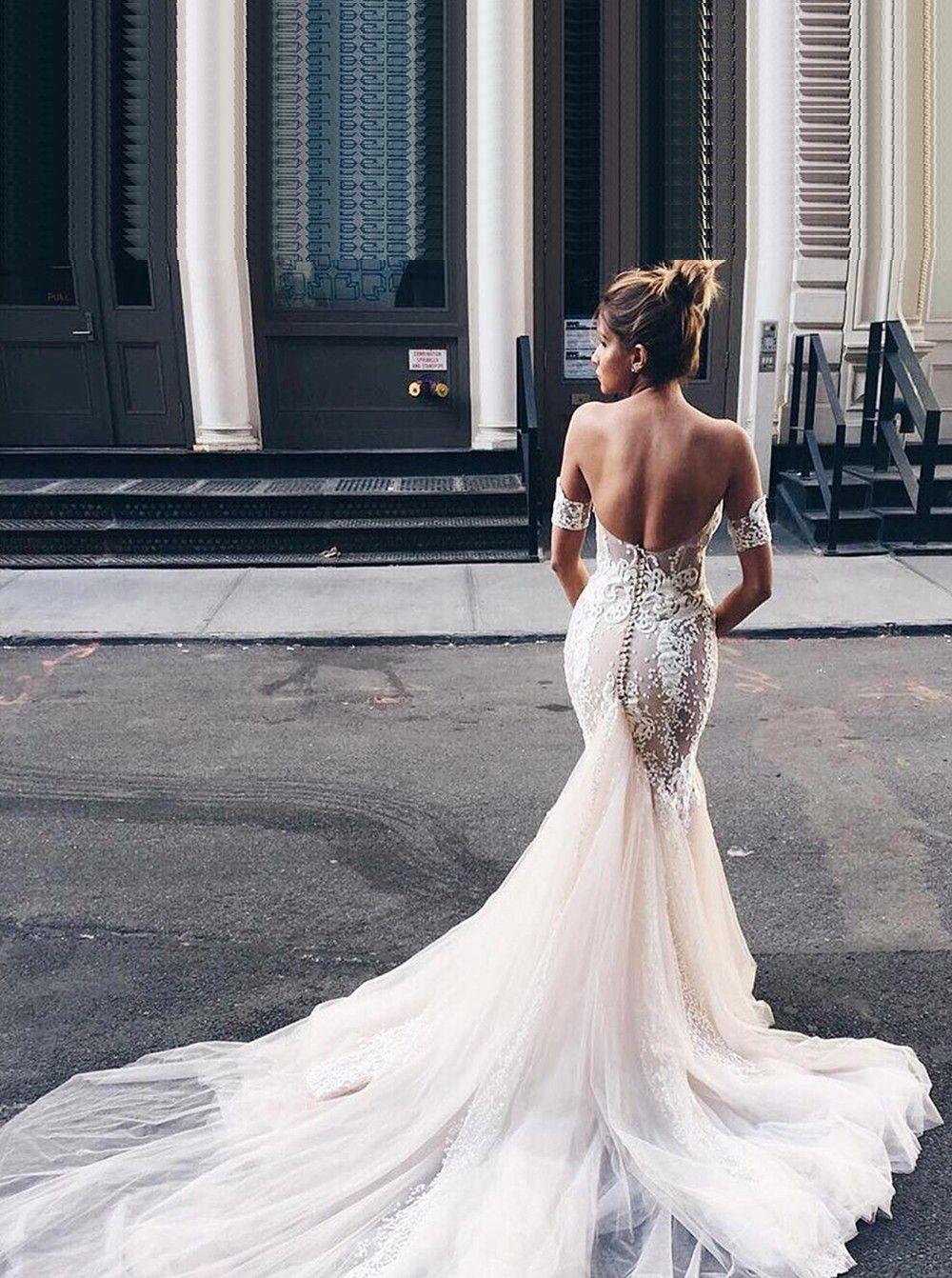 Blush mermaid wedding dress  Stylish Sweetheart Watteau Train Blush Mermaid Wedding Dress with
