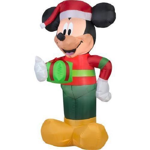 Details about Xmas Mickey Mouse Inflatable 5 Foot Yard Decoration - inflatable christmas yard decorations