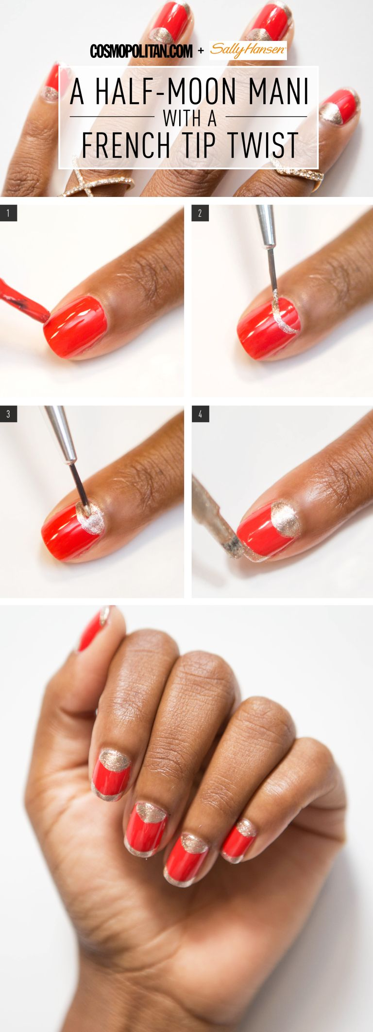 Nail Art How-To: Half-Moon With a French Tip Twist | Summer nail art ...