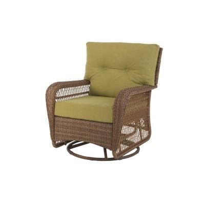 Martha Stewart Living Charlottetown Brown All Weather Wicker Patio Swivel  Rocker Lounge Chair With Green Bean Cushions