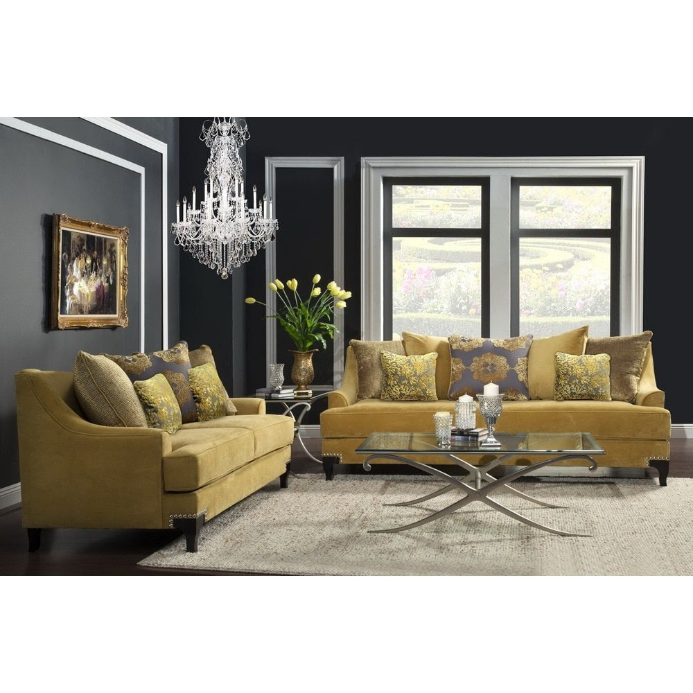 Furniture Of America Gisc Contemporary Taupe 2 Piece Sofa And