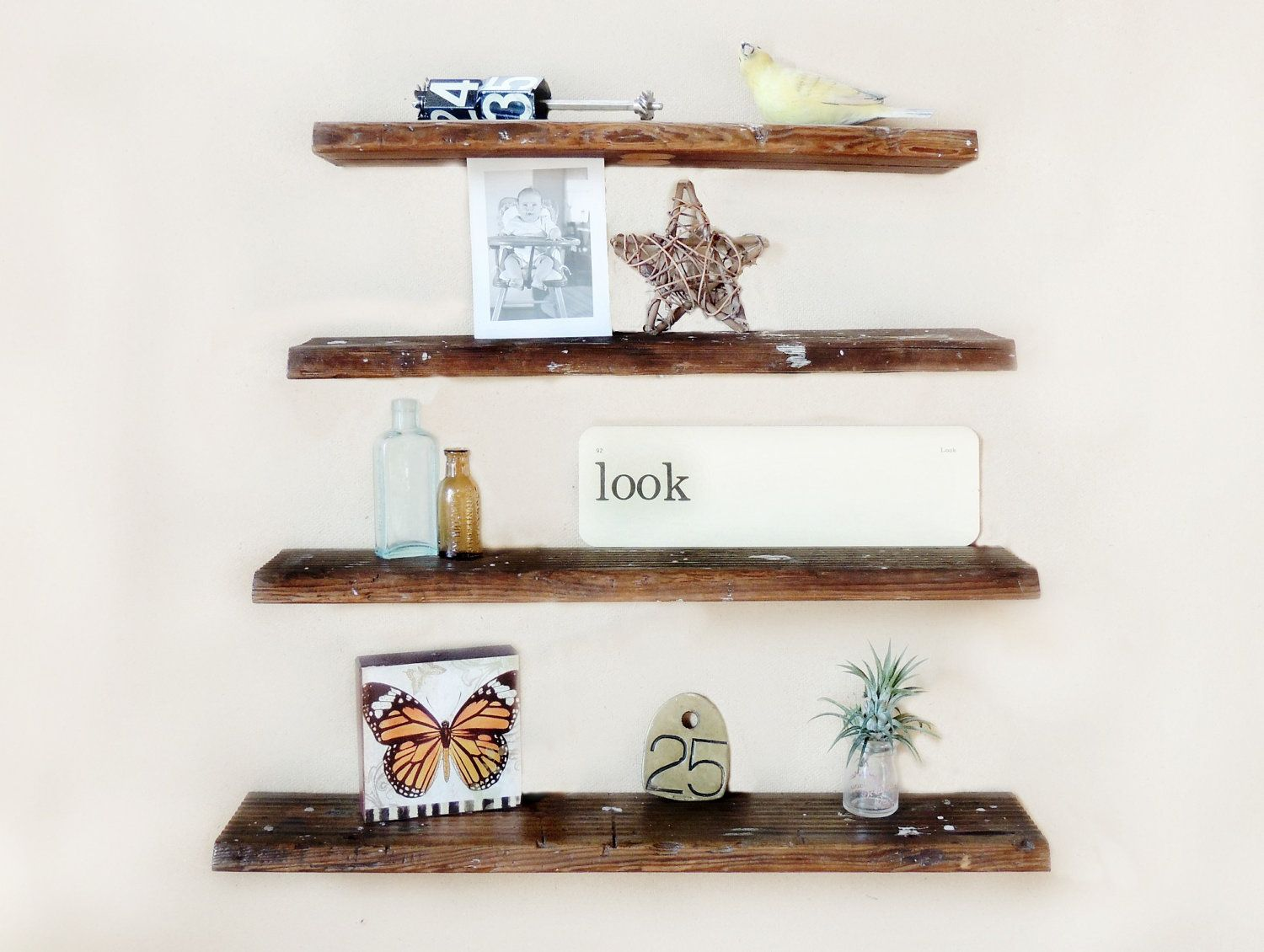 Rustic Wall Shelf Set Of 4 Reclaimed Wood Floating Shelves From Ladder Steps 55 00