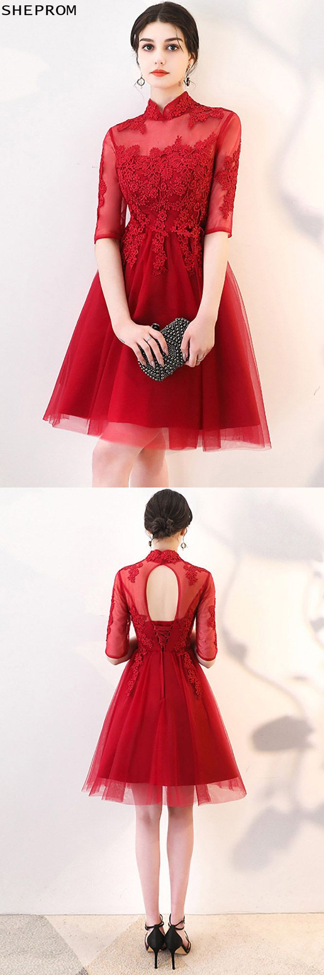 Red lace burgundy red homecoming prom dress tulle with sleeves