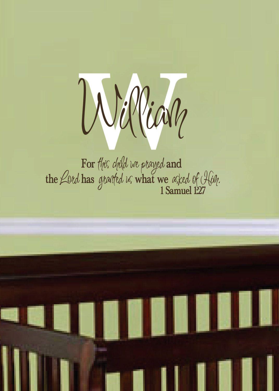 1 Samuel 1:27, For this child we prayed, Monogram Personalized ...