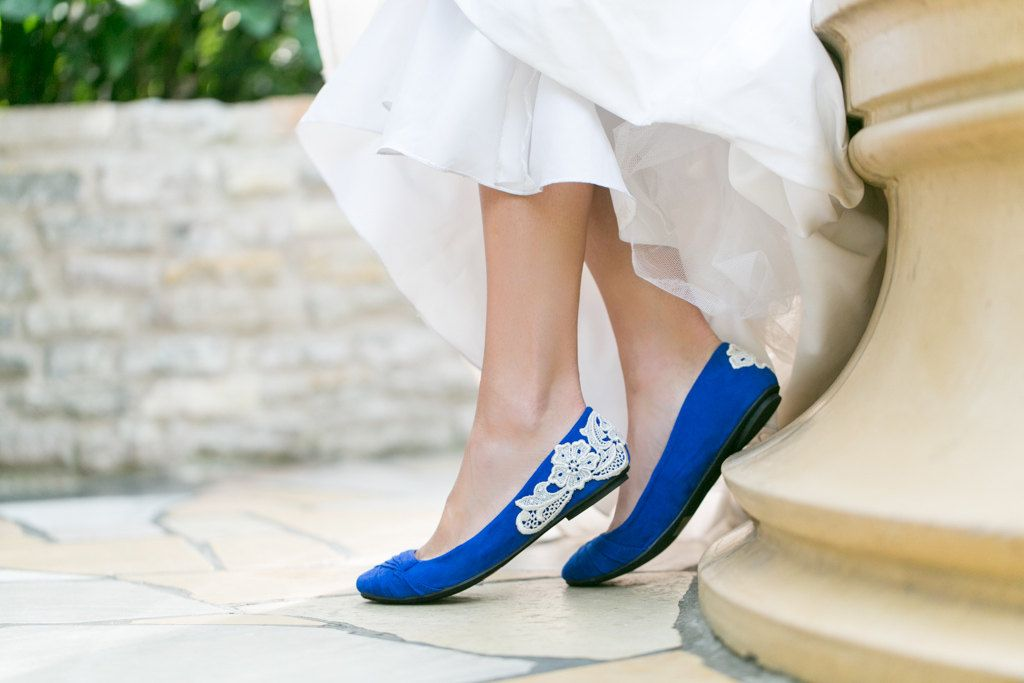 Wedding Shoes Cobalt Blue Bridal Ballet Flats Wedding Flats
