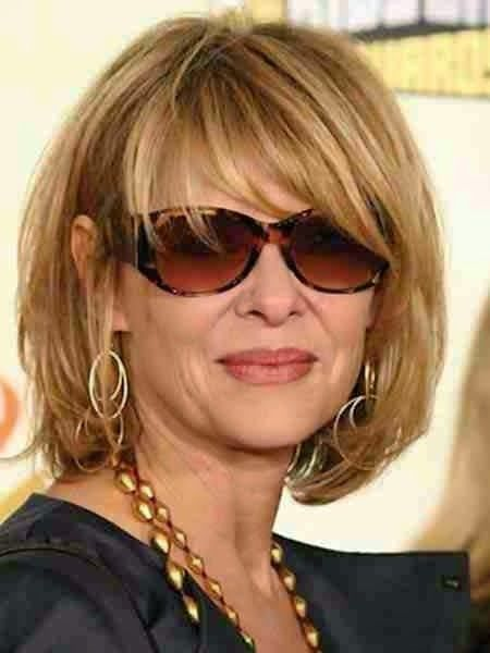 Layered Bob Medium Length Hairstyles For Over 50 With Glasses 7