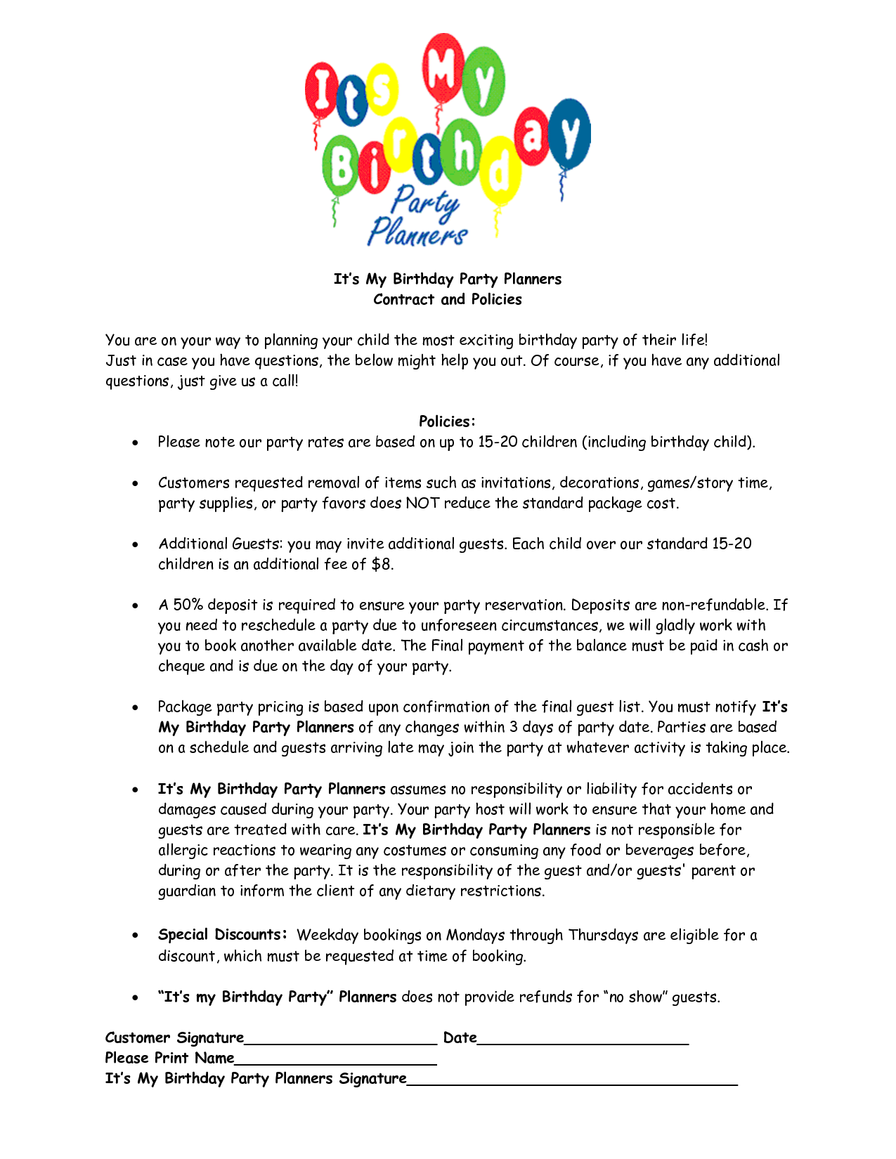 party planner contract template google search event planning