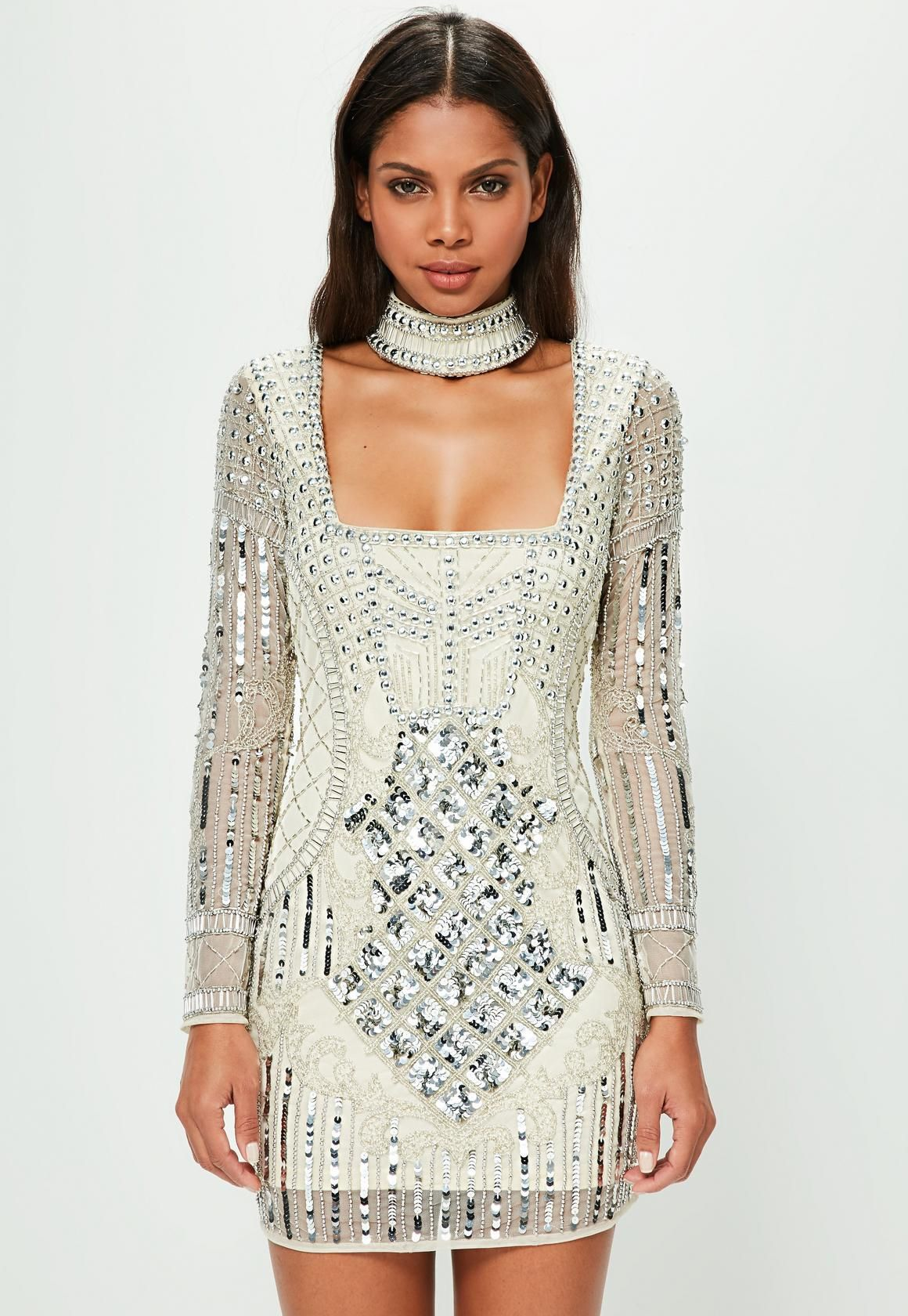 d256636aa829 Peace + Love White Choker Neck Embellished Bodycon Dress - Missguided