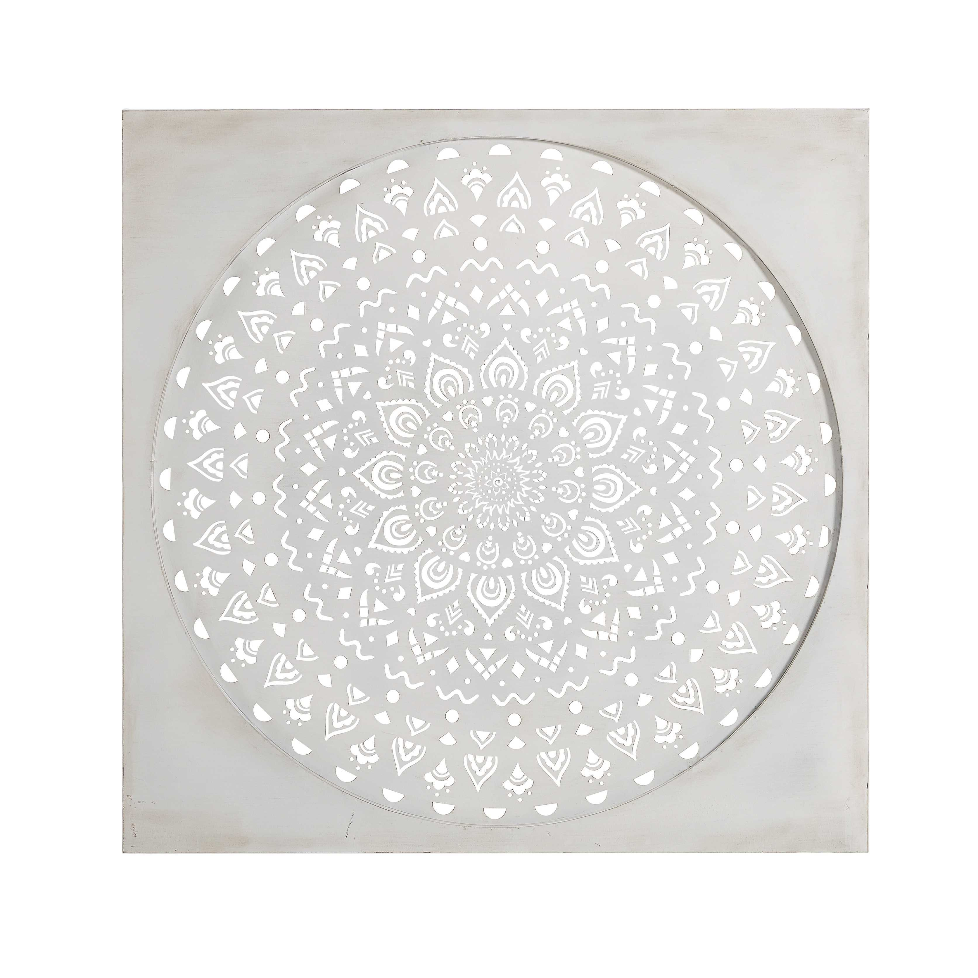 deco murale en metal blanc 110x110cm sohar
