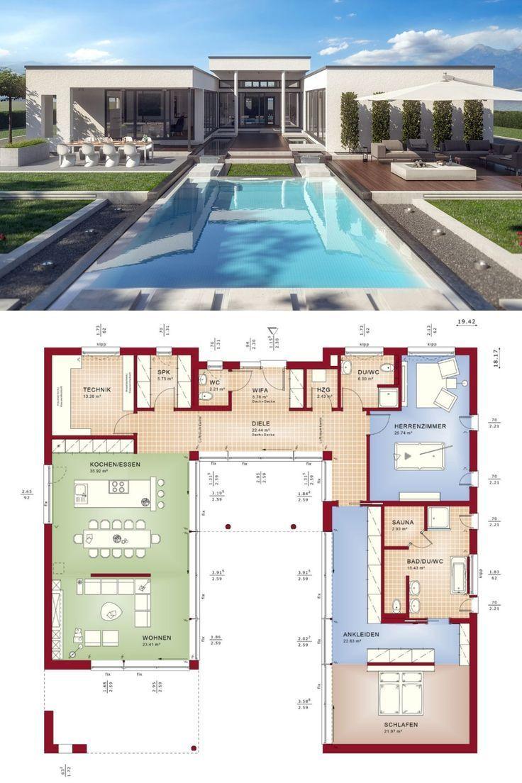 Photo of Bungalow Grundriss mit Flachdach Architektur mit Innenhof Pool Terrasse – Haus …