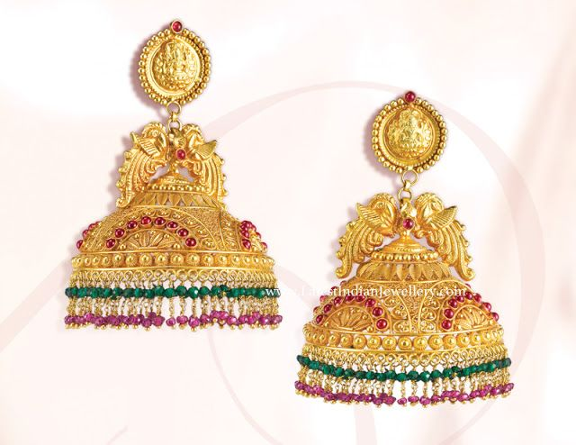 f5cad47d4 GRT Gold Jhumkas | wedding jewellery | Gold jhumka earrings, Jewelry ...