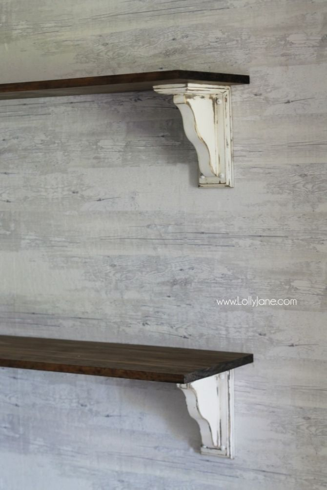 Diy Farmhouse Shelves So Easy To Make Your Own From Unfinished Wood Just Add Paint And Stain Lots Of Pretty Decor Ideas