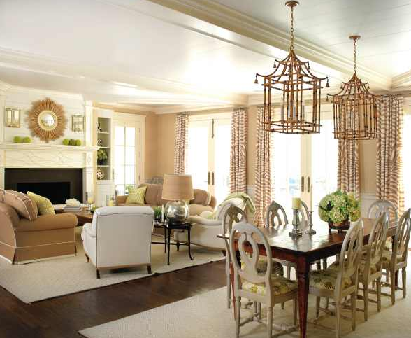 The rugs separate but enough in common same rug same - Dining room living room separation ...