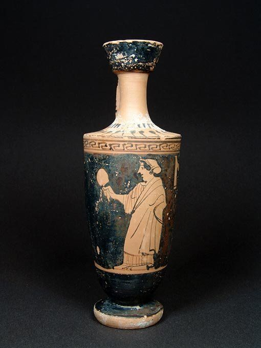 Attic Red Figure Lekythos With Domestic Scene 450 Bc
