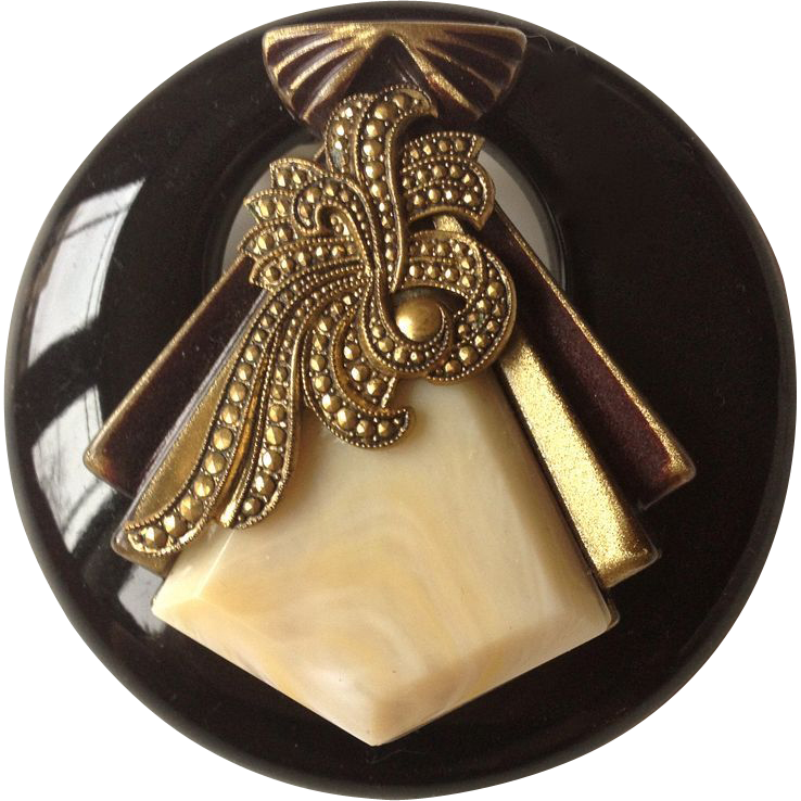 Bakelite Art Deco Style Marbled Beige and Brass Color Lucite Brooch