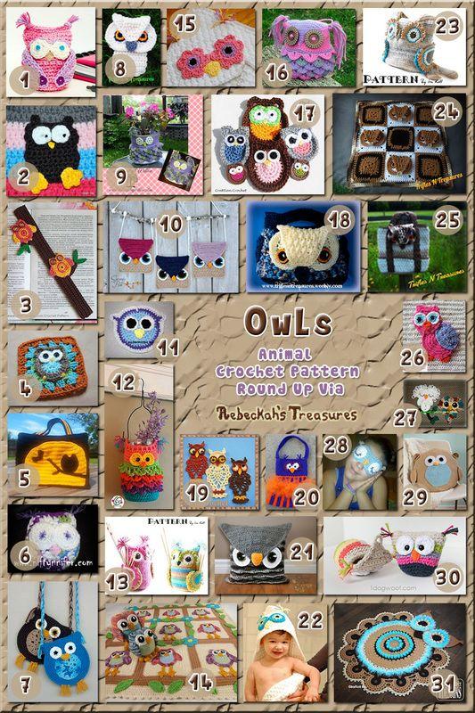 Owl Accessories & Home Decor - Animal Crochet Pattern Round Up via @beckastreasures