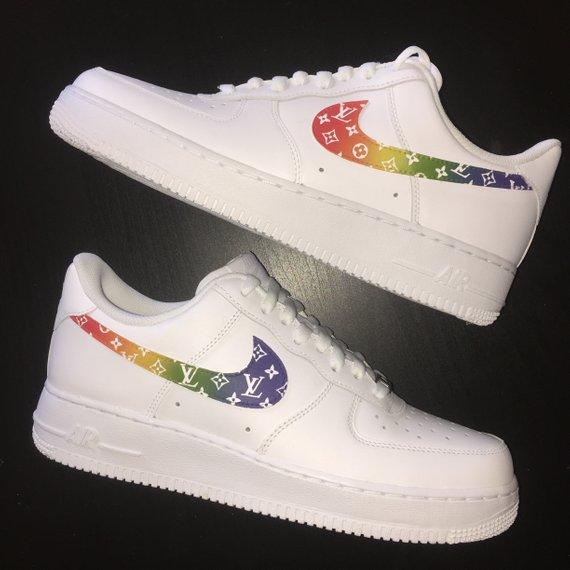 new product 49682 03d1d Custom Nike Air Force 1 - Rainbow LV Monogram Print