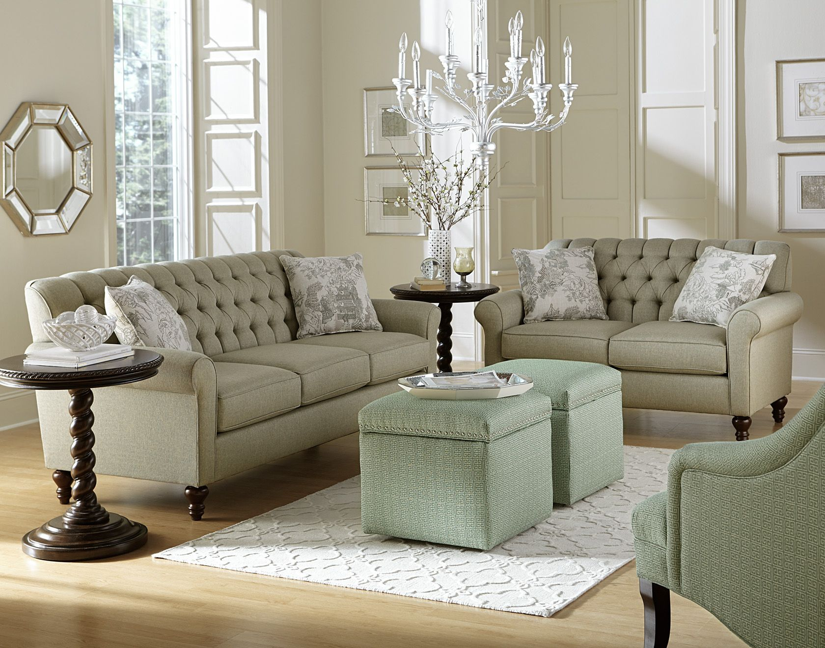 England Furniture 2v00 With Hanson Mist And Ancient City Fabrics