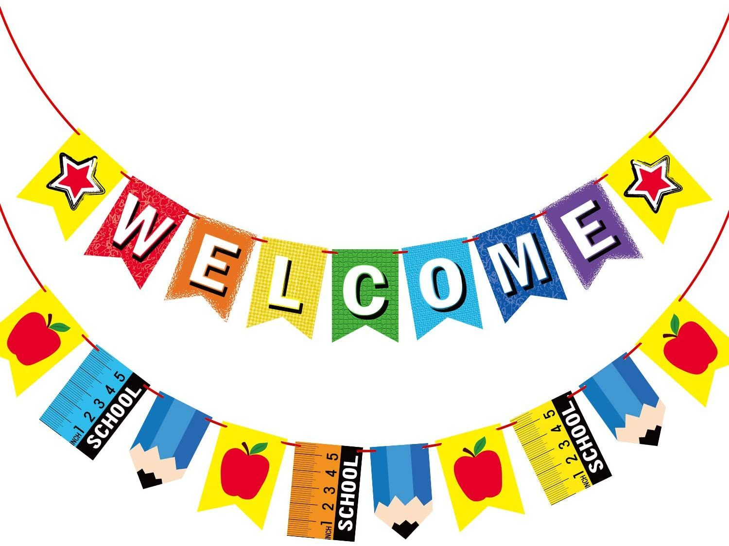 Welcome Banner For Party Supplies First Day Of School Banner School Theme Party Decorations For Stud School Banner Welcome Banner School Themes