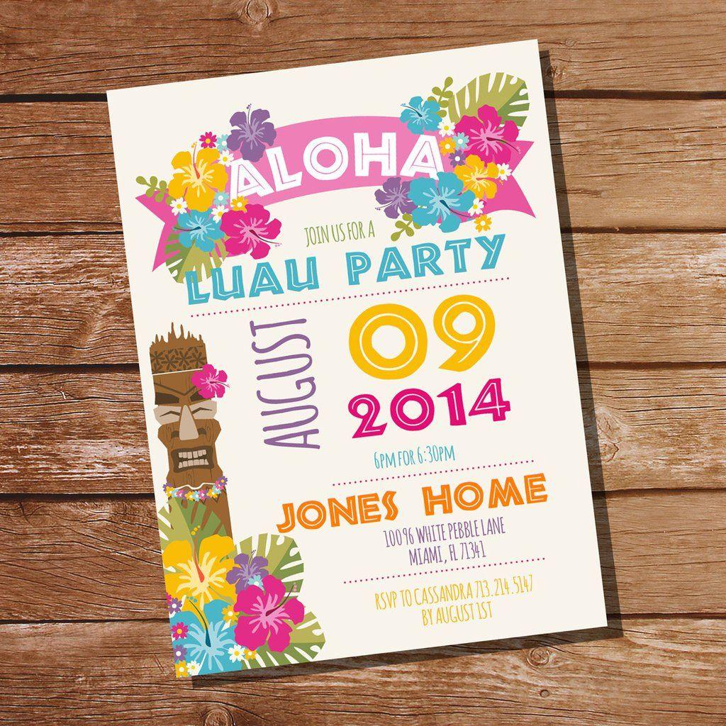 Luau Hawaiian Party Invitation | Tiki Party Invitation | Luau, Party ...