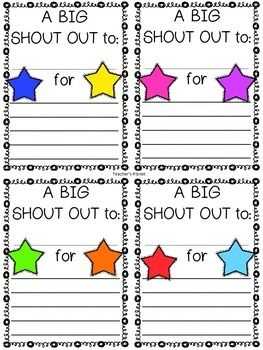 Free Shout Out Forms Teaching Kindness Teaching Teens Shout Out