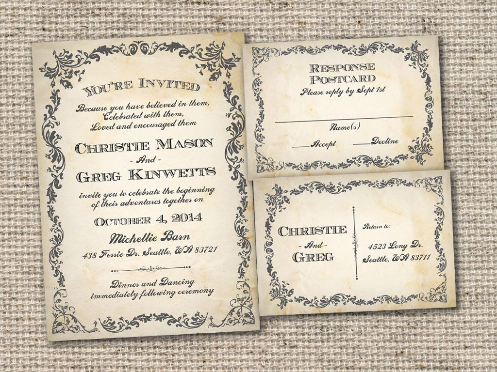 Vintage Bells And Co Vintage Rustic Style Wedding Invitations Wdydpc ...